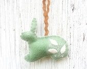 Green mint cottage chic Easter bunny ornament, number 25 - WillowandQuail