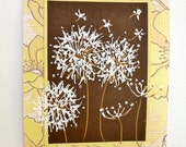 Painted Dandelions 5x7 Original Art, Yellow Brown Home Decor, OOAK, Frame Insert, Modern Floral, Yellow Art, Shelf Wall, Poppy Poppies - stephanieh02
