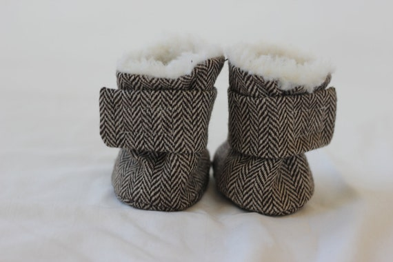 Herringbone Brown Baby Boots