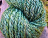 SALE Black Friday/Cyber Monday- Handspun Yarn, Aran/Heavy Worsted, Bluefaced Leicester: Green - KnitMomWi