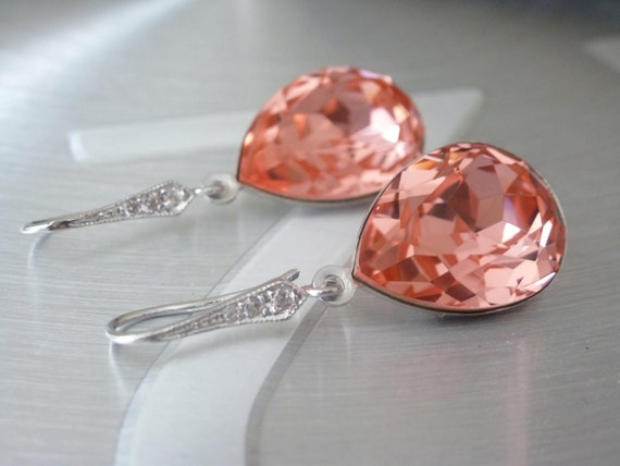 Pink Earrings Crystal Swarovski - Peach Earrings - Bridesmaids Earrings - Ear wires Cubic Zirconia