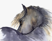"horse painting ""Looks Twice"" giclee print of original watercolor painting"