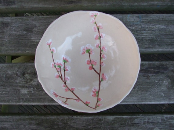 Ceramic serving bowl, cherry blossom bowl, cream, pink, Sakura medium MADE TO ORDER