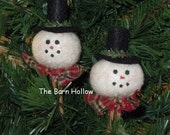 Primitive Snowman Mini-Clothespin Ornaments - TheBarnHollow