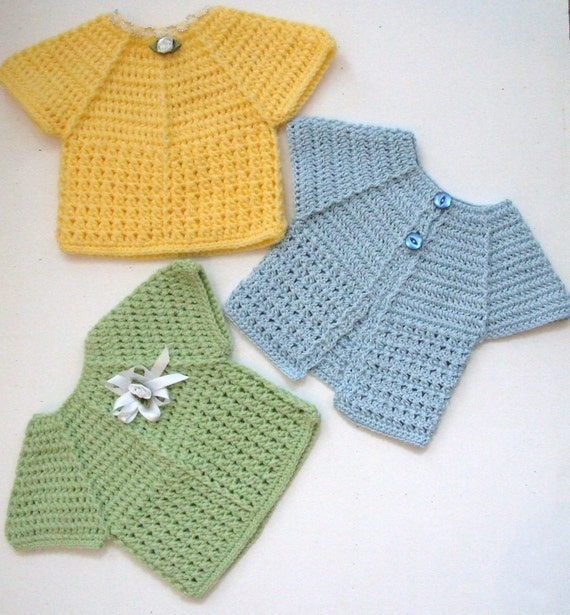 INSTANT DOWNLOAD Crochet Baby Top and Cardigan Pattern PDF (Summer Kisses Top and Cardi)