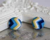 Bespoke retro fabric covered button earrings
