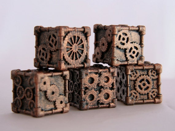 Dice (1 Die) - 3D printed, Steampunk Style, Bronze Finish