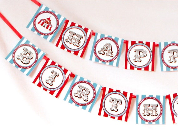 DIY PRINTABLE Birthday Party - Happy Birthday Banner - Vintage Blue Carnival Circus  - PS801CA1e