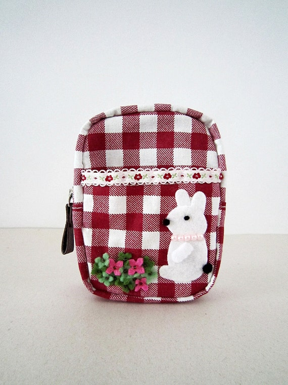 Zipper Pouch with Pocket - Red White Plaid Fabric , Bunny Garden