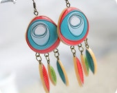 Tribal, Indian earrings - Boho chic - Free shipping - rusteam - SecretFind