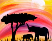 Elephant silhouette in sunset mama and baby 10 x 10 wrapped canvas painting, africa safari - shotviatheink