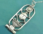Scarab Necklace Sterling Silver