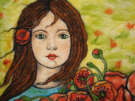 Needlefelt Art Wall Hanging - Girl Gathering Poppies In The Field