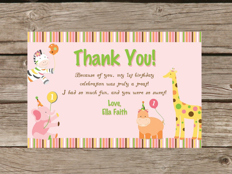 first birthday thank you card wording - First Birthday Thank You Cards