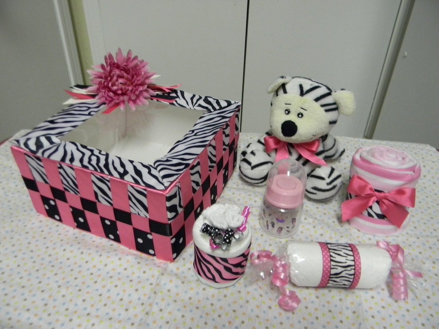 Hot Pink Zebra Baby Shower Centerpieces