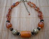 Amber & Carnelian Focal Point Choker with Brass and Wood
