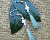 Jade, Shell & Crystal Drop Earrings with Sterling Silver