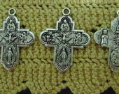 Antiqued Pewter finish Three Way Cross