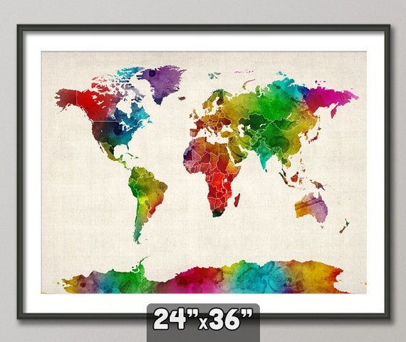 Watercolor Map of the World Map, Art Print, 24x36 inch (687)
