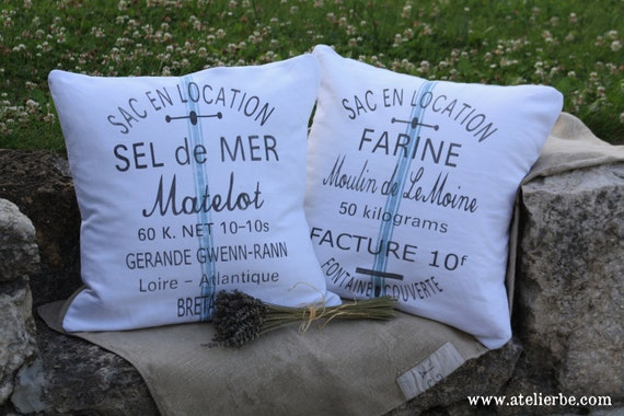 Pair of French Country  Vintage Linen Grain Sack Pillows - Flour & Salt