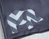 Elephant Baby Blanket Chevron Stripe Grey - mylittlemookie