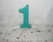 Distressed Wood Number 1 Shabby Cottage Chic Beach Wall Decor - hensnesttreasures