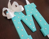 Hair Bow Holder:  Monogram Wooden Letter, Rhinestones, Hair Clip Holder, Cheer Bow Holder, Tiffany Blue inspired