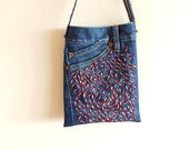 Embroidered Cross Body Bag,with Beads, Recycled Denim Jeans - Zembil