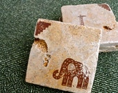 On The Rocks Coasters - African Safari in Cocoa (Set of 4) - HootAndOscar