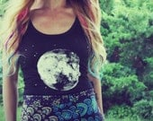Handmade Full Moon Tank Top, Screenprint, Hippie, Women, Original Artwork, Zodiac, Stars, Moon, Hippie, Bohemian, Celestial - theforgivingtree