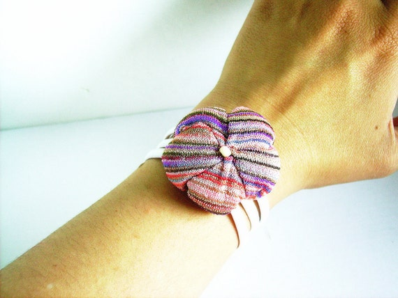 Fabric flower bracelet rainbow bangle pink blue purple - handmade ready to ship