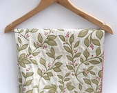 "Cream leaf fabric green stems and leaves red berries, lilen like 3' 6"" x 2' 2"" Christmas - CollectiveMiX"