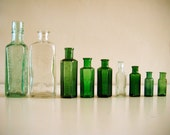 9 Vintage Bottles. Instant Collection (set A) Greens, Aqua and Clear Glass. Great for decorative ornaments or photo props. - vintageandloved