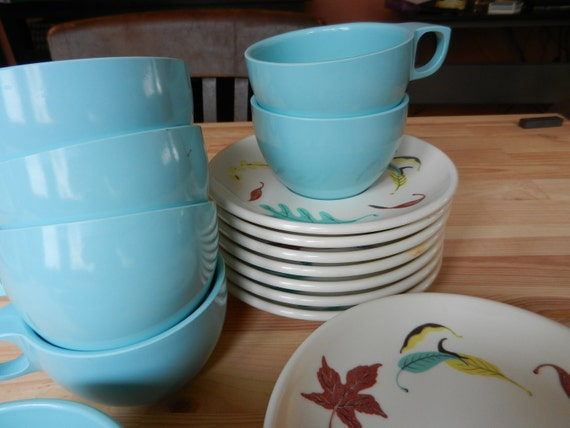 Watertown Lifetime Melmac Aqua Leaf Pattern Dishes - (6 cups & saucers and more)