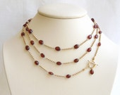 Garnet Necklace: AAA Garnets Wine Red Stones Gold Filled Chain - seemomster