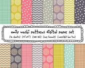 digital paper set washi tape patterns, colorful girls digital photography backgrounds, chevron instant download digital files  - 357 - huetoo