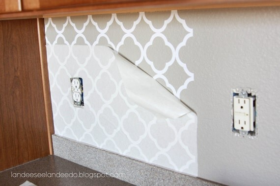Kitchen backsplash, pantry or bathroom upgrade - vinyl quatrefoil design -