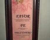 Inspirational Framed WORD Art / Favor, Fe, Fructifero