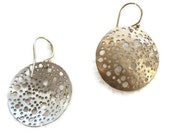 Gold Earring Drops Large Round Disc Geometric Circles - sheriberyl