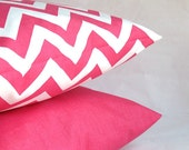 Pink Pillow Covers - TWO 18x18 inch Zig Zag and Solid Decorative Cushion Covers - Combo Pink White Chevron and Solid Pink - PureHomeAccents