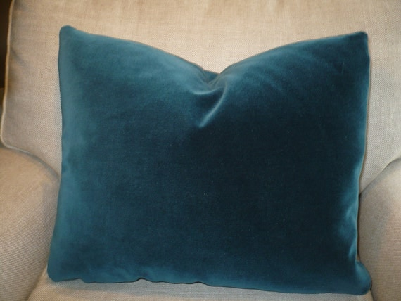Sumptuous DEEP TEAL VELVET Pillow W/ Feather Insert