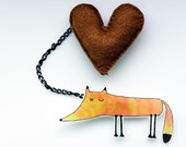 Handmade two part brooch - pin / orange fox pin / original illustration pin / fox and heart - KreiveMade
