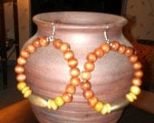 """Rusty Red, Brown, and Dusty Gold Wooden Hoop Earrings: """"Natural Queen"""""""