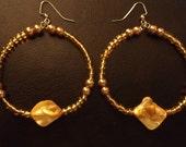 "Yellow Beaded Hoop Earrings with Golden Pearl Beads and Iridescnt Yellow Shells: ""Sun Catchers"""