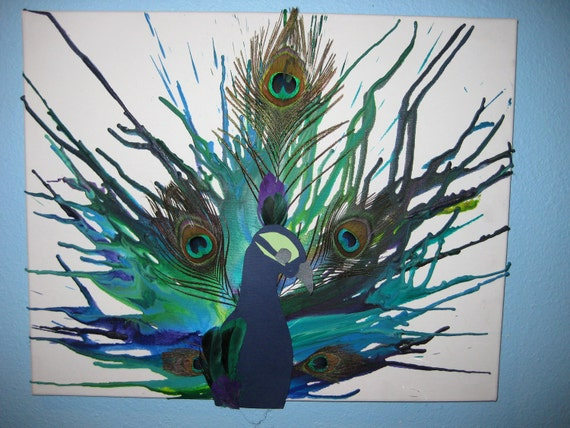 Peacock Melted Crayon Art