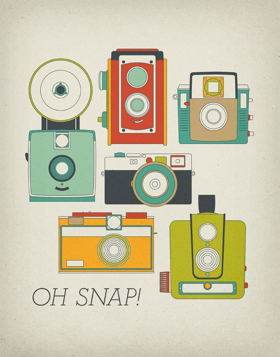 Oh Snap Retro Vintage Camera 11x14 Art Print