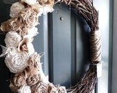 Burlap Grapevine Wreath - Burlap Roses, Pearls, and Ivory Lace - Rustic Wedding Decoration Wedding Wreath Alter Wreath - RedRobynLane