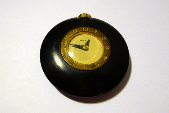 Bakelite Art Deco Westclox 1930s Purse Clock