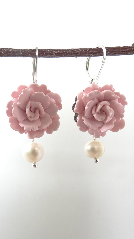 Soft Pink Peony Earrings, Hand sculpted Flower, Dangle Earrings, Flower Earrings, Bridal Earrings