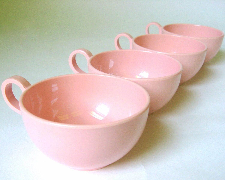 pink melmac mugs